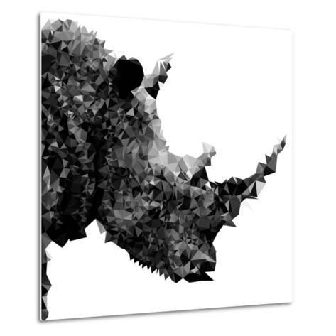 Low Poly Safari Art - Rhino - White Edition II-Philippe Hugonnard-Metal Print