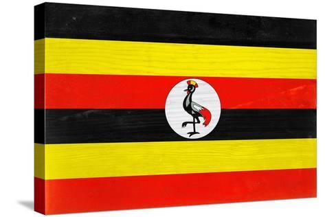 Uganda Flag Design with Wood Patterning - Flags of the World Series-Philippe Hugonnard-Stretched Canvas Print