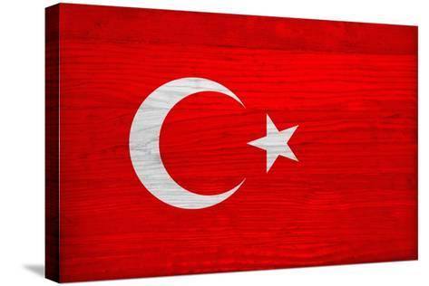 Turkey Flag Design with Wood Patterning - Flags of the World Series-Philippe Hugonnard-Stretched Canvas Print