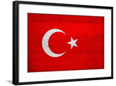 Turkey Flag Design with Wood Patterning - Flags of the World Series-Philippe Hugonnard-Framed Art Print