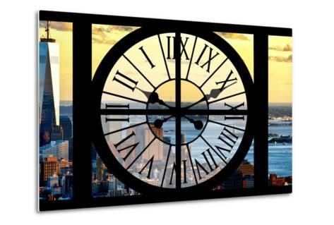 Giant Clock Window - View of Lower Manhattan with the One World Trade Center at Sunset-Philippe Hugonnard-Metal Print