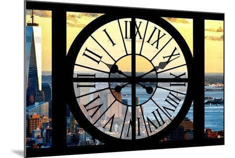 Giant Clock Window - View of Lower Manhattan with the One World Trade Center at Sunset-Philippe Hugonnard-Mounted Photographic Print