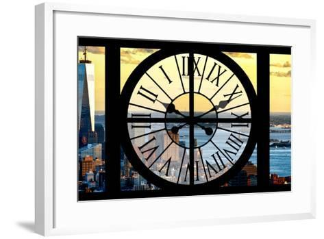 Giant Clock Window - View of Lower Manhattan with the One World Trade Center at Sunset-Philippe Hugonnard-Framed Art Print