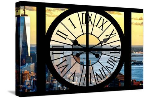 Giant Clock Window - View of Lower Manhattan with the One World Trade Center at Sunset-Philippe Hugonnard-Stretched Canvas Print