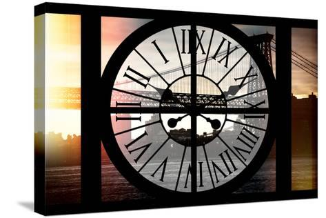 Giant Clock Window - Night View of the Williamsburg Bridge-Philippe Hugonnard-Stretched Canvas Print