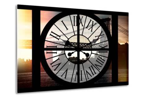 Giant Clock Window - Night View of the Williamsburg Bridge-Philippe Hugonnard-Metal Print
