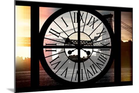 Giant Clock Window - Night View of the Williamsburg Bridge-Philippe Hugonnard-Mounted Photographic Print