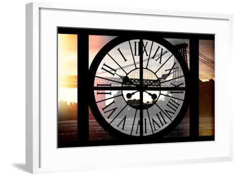 Giant Clock Window - Night View of the Williamsburg Bridge-Philippe Hugonnard-Framed Art Print