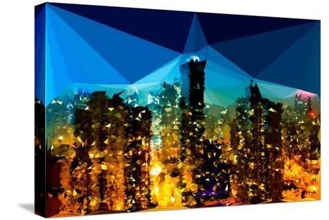 Low Poly New York Art - Manhattan Night Light-Philippe Hugonnard-Stretched Canvas Print