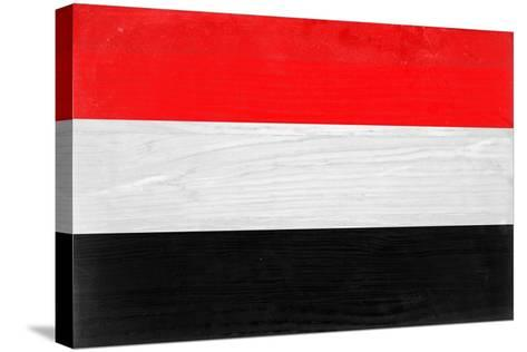 Yemen Flag Design with Wood Patterning - Flags of the World Series-Philippe Hugonnard-Stretched Canvas Print
