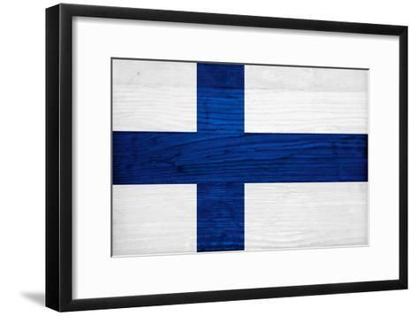 Finland Flag Design with Wood Patterning - Flags of the World Series-Philippe Hugonnard-Framed Art Print