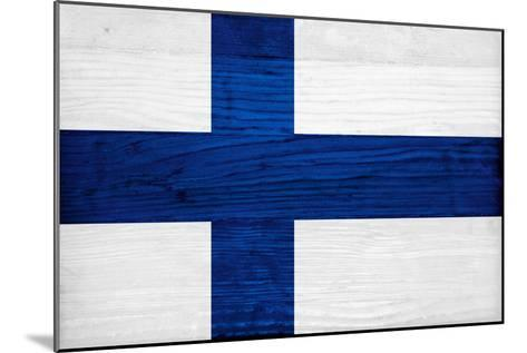 Finland Flag Design with Wood Patterning - Flags of the World Series-Philippe Hugonnard-Mounted Art Print