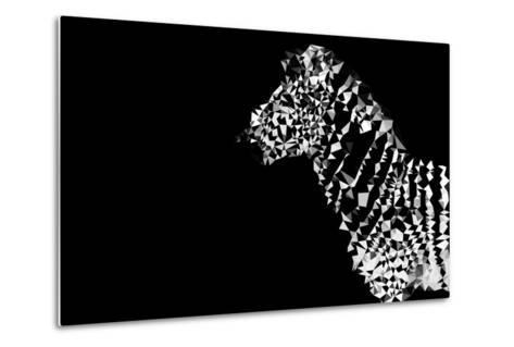 Low Poly Safari Art - Zebra - Black Edition-Philippe Hugonnard-Metal Print