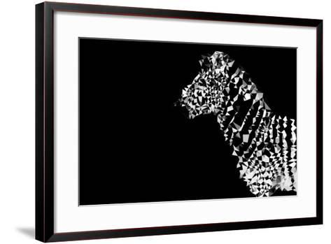 Low Poly Safari Art - Zebra - Black Edition-Philippe Hugonnard-Framed Art Print