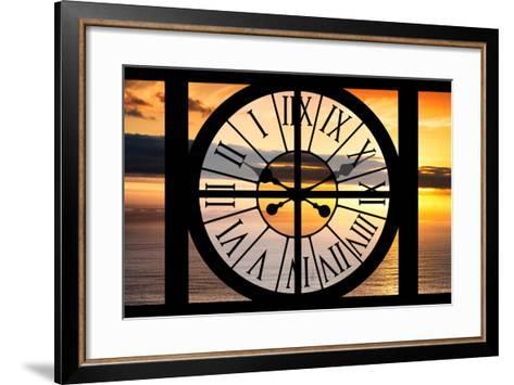 Giant Clock Window - View of a Sunset-Philippe Hugonnard-Framed Art Print