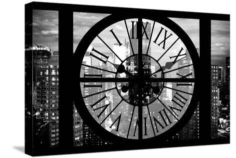 Giant Clock Window - View of Manhattan at Dusk II-Philippe Hugonnard-Stretched Canvas Print