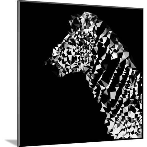 Low Poly Safari Art - Zebra Profile - Black Edition-Philippe Hugonnard-Mounted Art Print