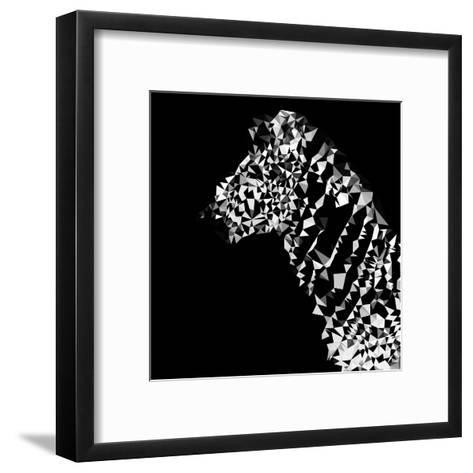 Low Poly Safari Art - Zebra Profile - Black Edition-Philippe Hugonnard-Framed Art Print