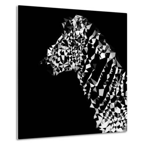 Low Poly Safari Art - Zebra Profile - Black Edition-Philippe Hugonnard-Metal Print