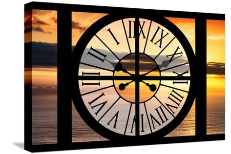 Giant Clock Window - View of a Sunset-Philippe Hugonnard-Stretched Canvas Print
