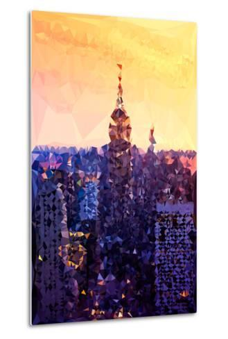 Low Poly New York Art - The Empire State Building at Sunset-Philippe Hugonnard-Metal Print