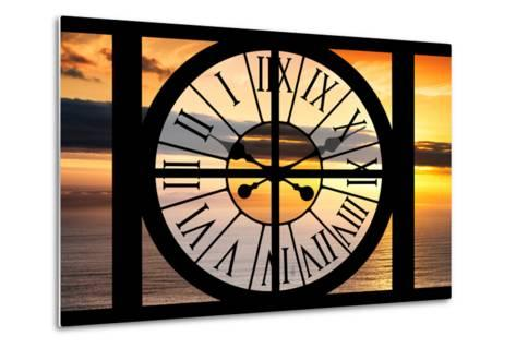 Giant Clock Window - View of a Sunset-Philippe Hugonnard-Metal Print