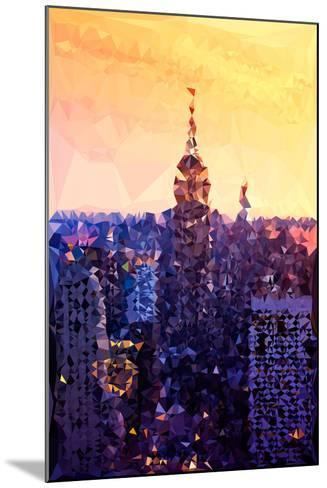 Low Poly New York Art - The Empire State Building at Sunset-Philippe Hugonnard-Mounted Art Print