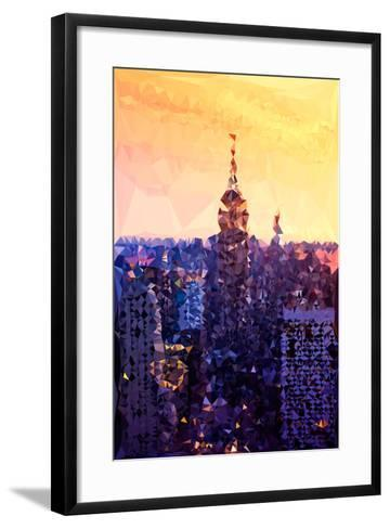Low Poly New York Art - The Empire State Building at Sunset-Philippe Hugonnard-Framed Art Print