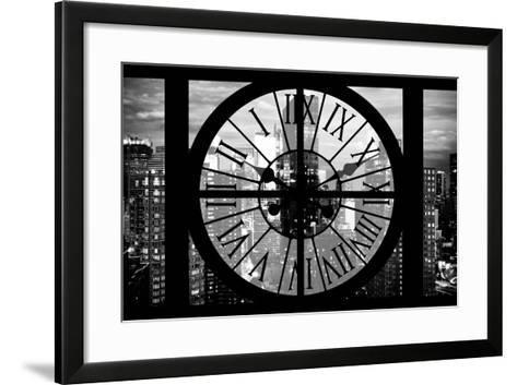 Giant Clock Window - View of Manhattan at Dusk II-Philippe Hugonnard-Framed Art Print