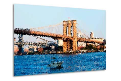Low Poly New York Art - Brooklyn Bridge-Philippe Hugonnard-Metal Print