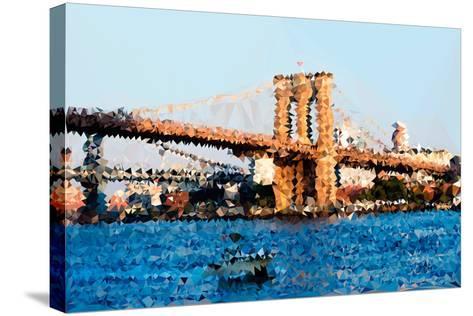 Low Poly New York Art - Brooklyn Bridge-Philippe Hugonnard-Stretched Canvas Print