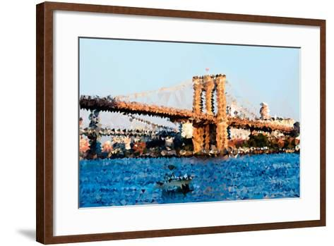 Low Poly New York Art - Brooklyn Bridge-Philippe Hugonnard-Framed Art Print