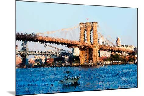 Low Poly New York Art - Brooklyn Bridge-Philippe Hugonnard-Mounted Art Print