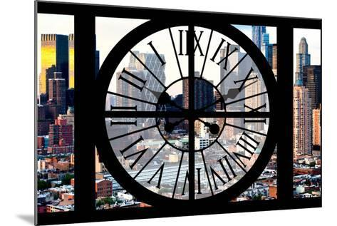 Giant Clock Window - View of Manhattan Buildings - Hell's Kitchen District-Philippe Hugonnard-Mounted Photographic Print