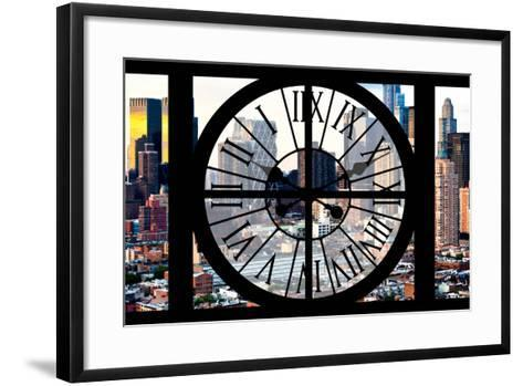 Giant Clock Window - View of Manhattan Buildings - Hell's Kitchen District-Philippe Hugonnard-Framed Art Print