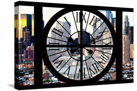 Giant Clock Window - View of Manhattan Buildings - Hell's Kitchen District-Philippe Hugonnard-Stretched Canvas Print