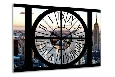 Giant Clock Window - View of Manhattan at Sunset II-Philippe Hugonnard-Metal Print
