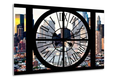 Giant Clock Window - View of Manhattan Buildings - Hell's Kitchen District-Philippe Hugonnard-Metal Print
