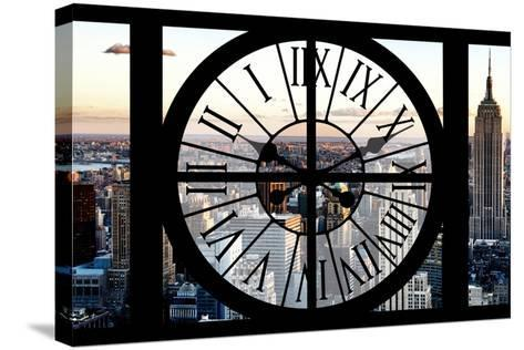 Giant Clock Window - View of Manhattan at Sunset II-Philippe Hugonnard-Stretched Canvas Print