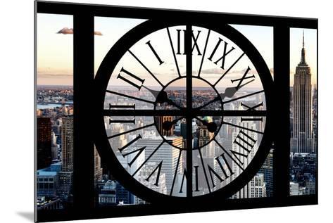 Giant Clock Window - View of Manhattan at Sunset II-Philippe Hugonnard-Mounted Photographic Print