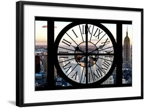 Giant Clock Window - View of Manhattan at Sunset II-Philippe Hugonnard-Framed Art Print