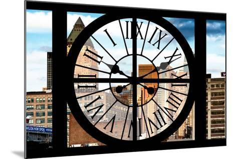 Giant Clock Window - View of Manhattan Buildings-Philippe Hugonnard-Mounted Photographic Print