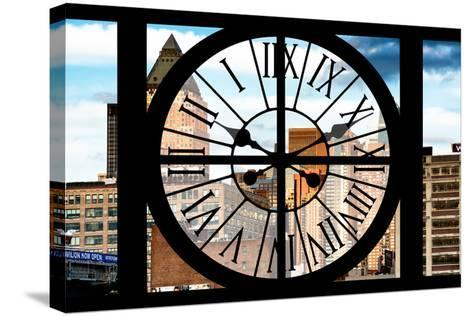 Giant Clock Window - View of Manhattan Buildings-Philippe Hugonnard-Stretched Canvas Print