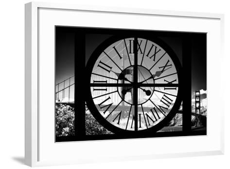 Giant Clock Window - View of the Golden Gate Bridge - San Francisco V-Philippe Hugonnard-Framed Art Print