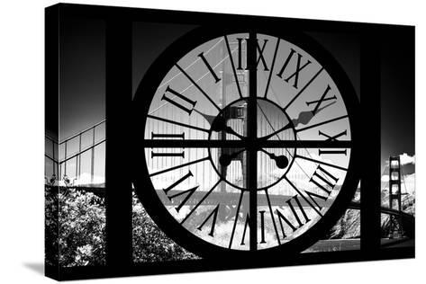Giant Clock Window - View of the Golden Gate Bridge - San Francisco V-Philippe Hugonnard-Stretched Canvas Print