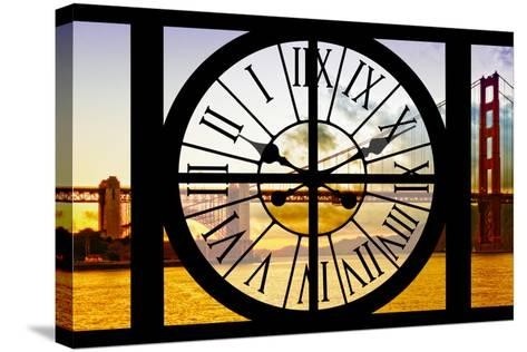 Giant Clock Window - View of the Golden Gate Bridge at Sunset - San Francisco-Philippe Hugonnard-Stretched Canvas Print