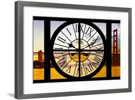 Giant Clock Window - View of the Golden Gate Bridge at Sunset - San Francisco-Philippe Hugonnard-Framed Art Print