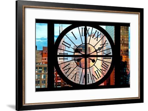 Giant Clock Window - View of Manhattan Skyscrapers at Sunset-Philippe Hugonnard-Framed Art Print