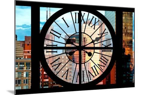 Giant Clock Window - View of Manhattan Skyscrapers at Sunset-Philippe Hugonnard-Mounted Photographic Print