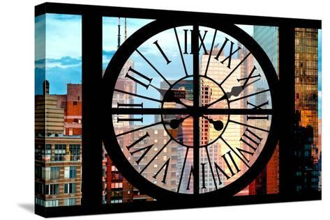 Giant Clock Window - View of Manhattan Skyscrapers at Sunset-Philippe Hugonnard-Stretched Canvas Print